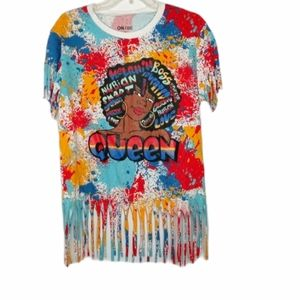 On Fire multi color fringe top size XL